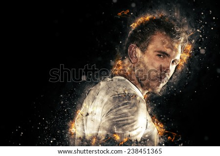 Graphic portrait of a soccer player - stock photo