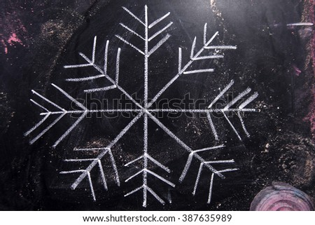 Graphic representation with chalk on blackboard symbol of snow - stock photo