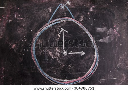 Graphic representation with chalk on the blackboard of a alarm clock - stock photo