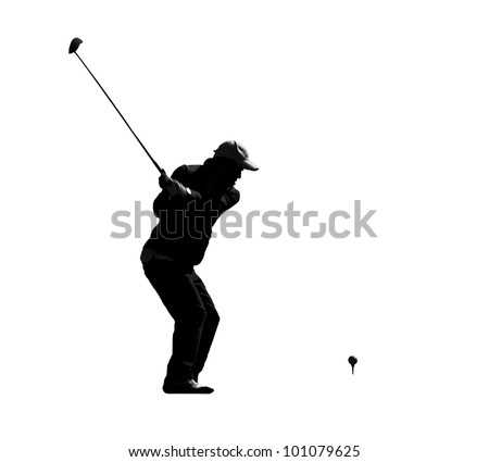 Graphic silhouette of the male golfer is ready ti hit.