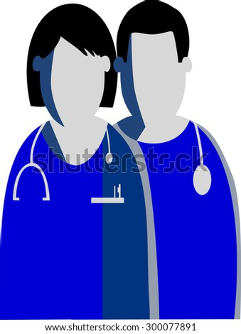 Graphic silhouettes of a female and a male doctors/ nurses are represented as symbols in shades of blue and grey colors.