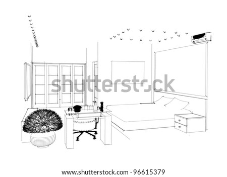 Graphic sketch an bedroom - stock photo