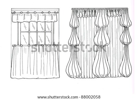 Graphic sketch, drapery, curtain - stock photo