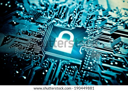 graphic symbol of a lock on a computer circuit board - computer security system
