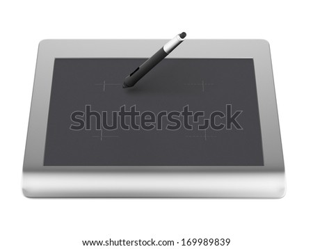 Graphic tablet with pen - stock photo