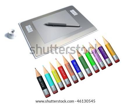 graphic tablet with pen and coloured pencil. computer graphics