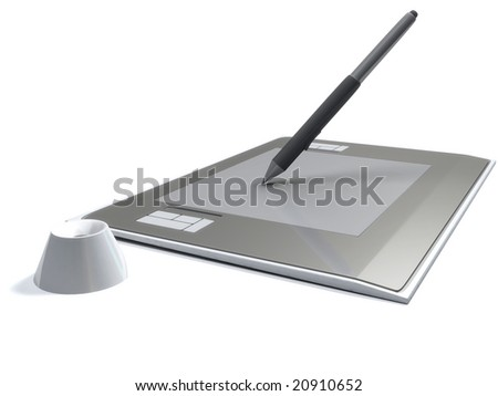 Graphic tablet with pen on white background - stock photo