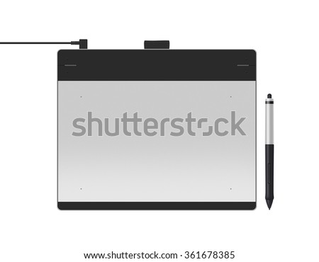 Graphic tablet with stylus illustration. Big picture of digitizer device with digital pen isolated on white. Creative draw tool for designers.  - stock photo