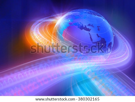 Graphical Digital Binary Code Highways Around the World Through the Space Background  - stock photo