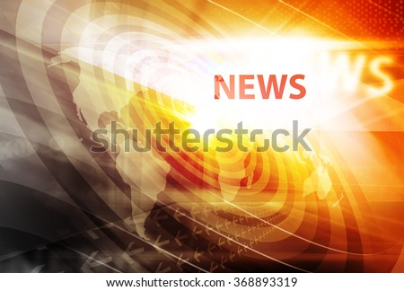 Graphical digital news background with world map and concenteric waves circles - stock photo