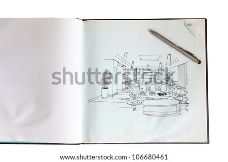 Graphical sketch by pen of an interior living room, on notebook paper background - stock photo