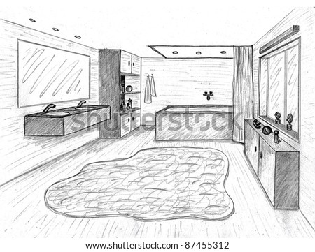 Pencil sketch of a room stock photos images pictures for Sofa zeichnen fluchtpunkt
