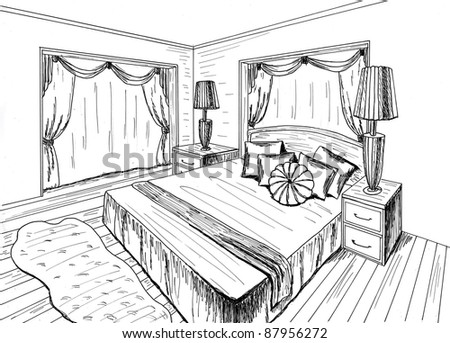 Graphical Sketch Interior Bedroom Stock Illustration