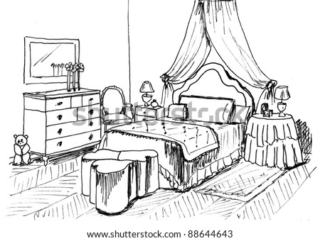 Kids Bedroom Drawing bedroom sketch stock images, royalty-free images & vectors