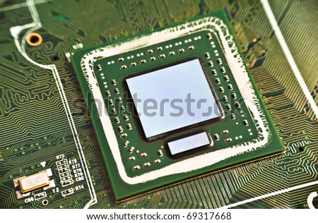 Graphics card core chip close up - stock photo