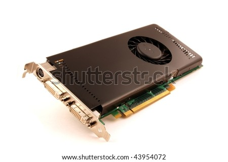 Graphics card isolated on white - stock photo