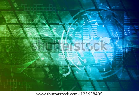 graphics created with technology - stock photo