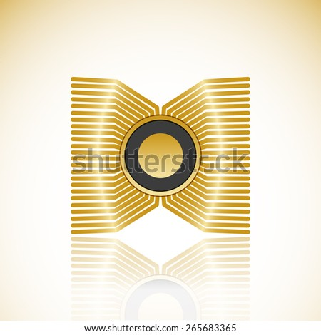 Graphics processing unit symbol - Computer chip or microchip icon with reflection isolated - stock photo