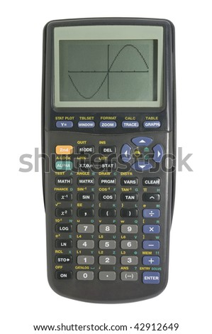 Graphing calculator isolated on white with clipping  path - stock photo