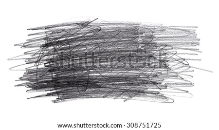 Graphite pencil doodle scribbles isolated on white background - stock photo