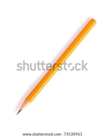 Graphite pencil of yellow color - stock photo