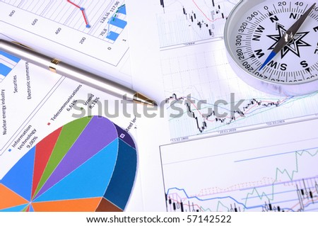 Graphs and charts. - stock photo