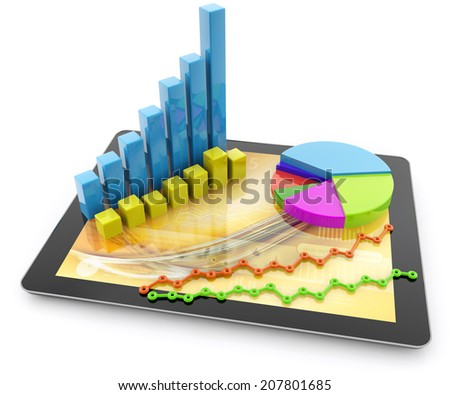 graphs and charts over a tablet on white background - stock photo