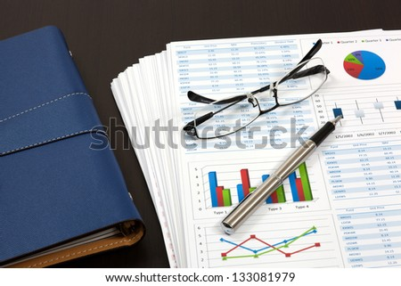 Graphs and Charts Report with pen