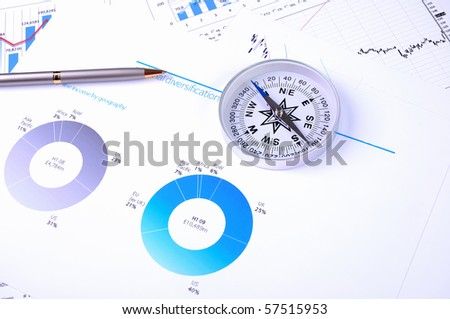 Graphs and charts. Workplace businessman. - stock photo
