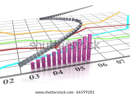 Graphs and charts. Workplace businessman. Color chart. - stock photo