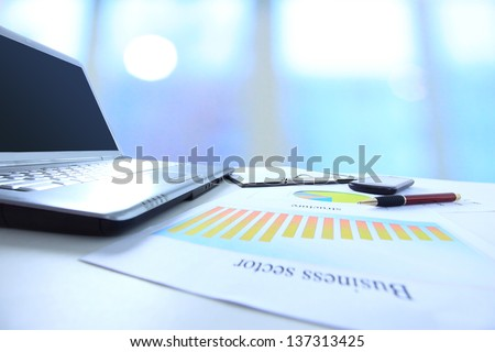 Graphs, charts, business table. The workplace of business people - stock photo