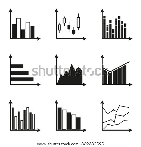 Graphs icon set. Charts for infographics design. - stock photo