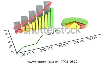 Graphs of financial analysis - stock photo