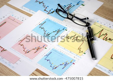 Graphs stock exchange price of oil on the white sheet of paper on a wooden table with business accessories (glasses, calculator, mobile phone, fountain pen)