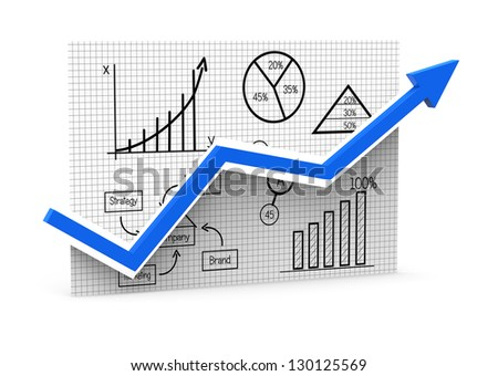 Graphs with the process of vision - stock photo
