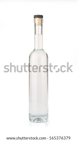 Grappa bottle isolated on white background. - stock photo
