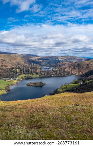 Grasmere and Rydal Water from Silver Howe English Lake District - stock photo