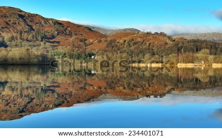 Grasmere lake Early Morning in November. - stock photo