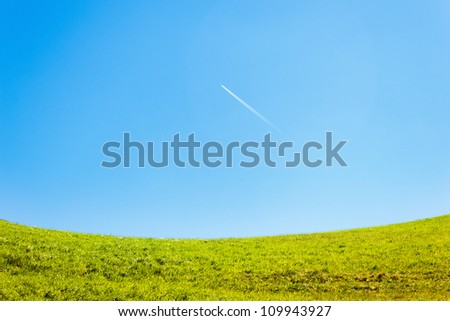 Grass and blue sky background
