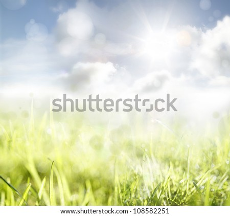 Grass and sky spring background - stock photo