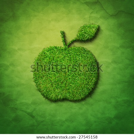 grass apple shape on green sackcloth - stock photo