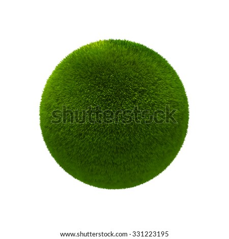 Grass ball isolated on white background, 3d illustration.