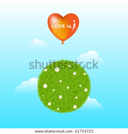 Grass Ball With Red Heart Shape Balloon, Flowers And Clouds - stock photo