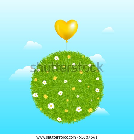 Grass Ball With Yellow Heart Shape Balloon, Flowers And Clouds - stock photo