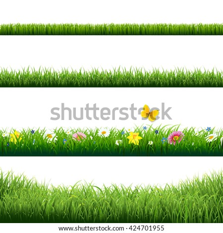 Grass Borders Set  - stock photo