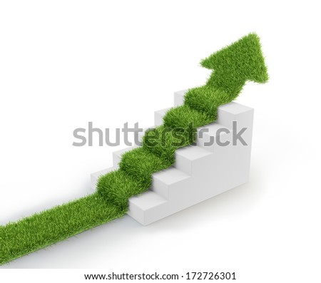 Grass covered arrow climbing up over a staircase - stock photo