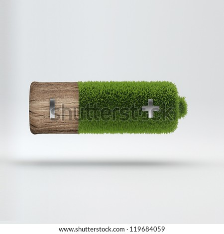 Grass covered battery - green energy concept - stock photo
