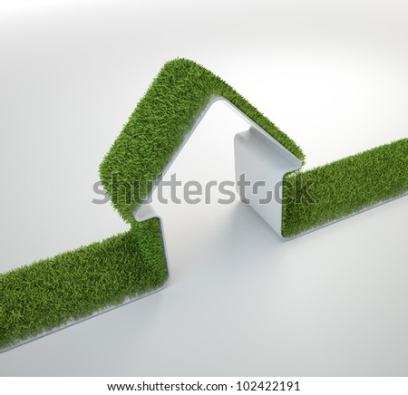 Grass covered house symbol - eco housing - stock photo