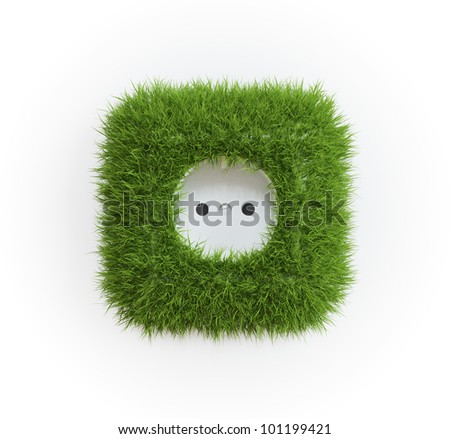 Grass covered outlet - renewable energy concept - stock photo