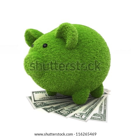 Grass covered piggy bank on top of money , ecology savings concept - stock photo